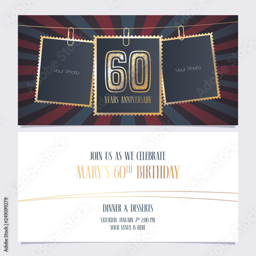60 Years Anniversary Party Invitation Vector Template Illustration