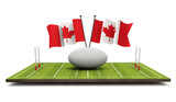 Canada flags with a rugby ball and pitch. 3D Rendering