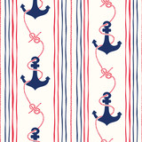 Hand-Drawn Rope Vertical Stripes with Anchors and Zeppelin Bend Nautical Knots Vector Seamless Pattern