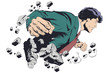 Businessman breaking wall. Business breakthrough. Stock illustration. - 249106816