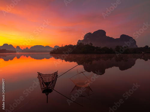 Fishing man at lakeside