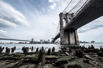 Brooklyn Bridge in New York, NYC with the famous cityscape view © Life in Pixels