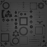 Vintage set of vector black horizontal, square and round elements. Different elements for backgrounds, frames and monograms. Classic patterns. Set of vintage patterns - 249116663