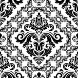 Classic seamless vector pattern. Damask orient black and white ornament. Classic vintage background. Orient ornament for fabric, wallpaper and packaging - 249117060