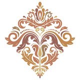 Oriental vector pattern with arabesques and floral colored elements. Traditional classic ornament. Vintage pattern with arabesques - 249119041
