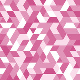 Geometric vector pattern with purple, red and white triangles. Geometric modern ornament. Seamless abstract background - 249120079