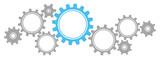 Grafische Zahnräder Banner Grau/Blau
