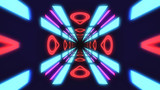 Vintage HUD neon rectangle tunnel VJ. 4K Neon motion graphics for LED, TV, music, show, concerts. Bright retro cosmic night club 3D illustration with data flow concept for speed and connection