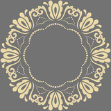 Elegant vintage vector ornament in classic style. Abstract traditional round golden pattern with oriental elements. Classic vintage pattern - 249132618