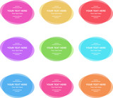 Set of vector colorful oval banners. Abstract vector shapes for design. Banners with sample text. - 249132866