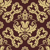 Classic seamless vector pattern. Damask orient golden ornament. Classic vintage background. Orient ornament for fabric, wallpaper and packaging - 249133898