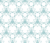 Floral vector blue ornament. Seamless abstract classic background with flowers. Pattern with repeating floral elements. Ornament for fabric, wallpaper and packaging - 249134240