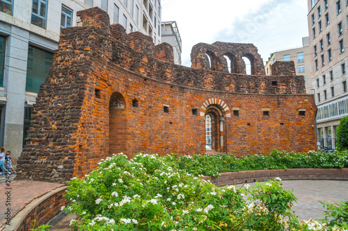 Ruins of San Giovanni in Conca, Old brik wall in the center of Milan, Italy