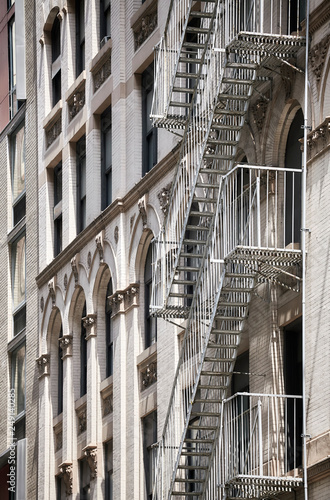 Foto Murales Old building fire escape in New York, USA.