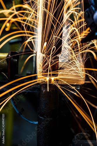 Leinwanddruck Bild Industrial welding automotive in factory