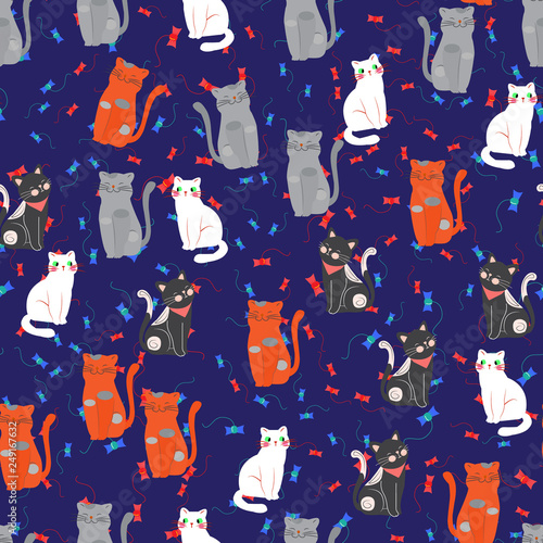 obraz lub plakat Vector illustration, cat seamless pattern, various types of cute cat cartoon on dark background . It can be printed and used as Wallpaper, packing, wrapping paper, fabric.