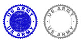 Grunge US ARMY stamp seals isolated on a white background. Rosette seals with grunge texture in blue and grey colors. Vector rubber stamp imprint of US ARMY text inside round rosette.