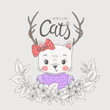 Cute cat girl with deer horns, spring blossom. Hello Cats slogan