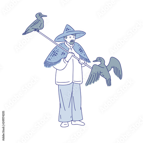 4e1510bb Chinese fishermen and duck fisher. Vector line art people go fishing.  Symbols of asian