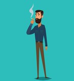 Man is smoking a cigarette. Tobacco dependence. The concept of an unhealthy lifestyle. - 249177018