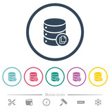 Copy database flat color icons in round outlines - 249177627