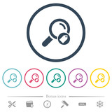 Search tags flat color icons in round outlines