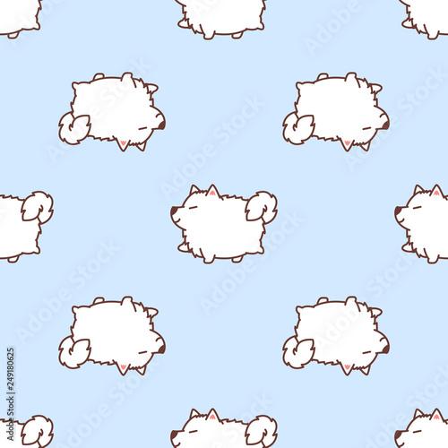 fototapeta na ścianę Cute samoyed dog walking cartoon seamless pattern, vector illustration
