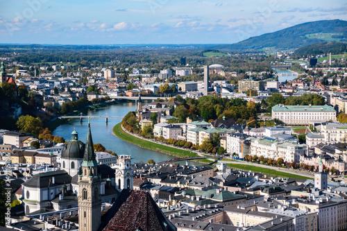 Leinwanddruck Bild Panorama of Salzburg