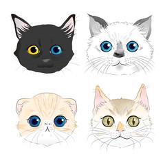 Set of watercolor style illustrations four cat heads portrait