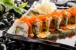 Close up on sushi rolls