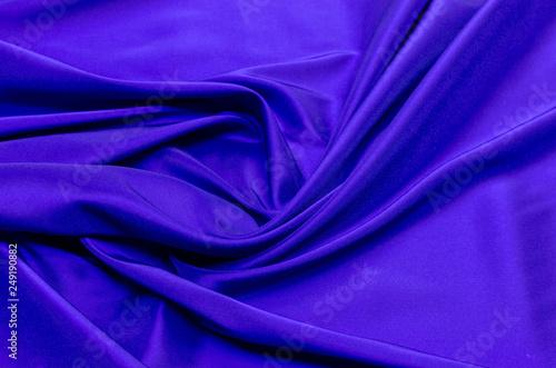 Leinwandbild Motiv Lining fabric of viscose, acetate and elastane blue