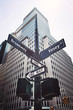 Looking up at Broadway and Vesey street sign, retro color toning applied, New York, USA. - 249202483