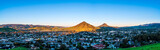 Panorama of City View and Mountains in Morning