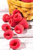 fresh raspberries in  basket