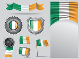 Made in Ireland seal, Irish flag and color  --Vector Art--