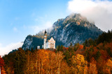 Beautiful Germany Landscape with Castle and Mountains in Autumn