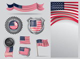Made in USA seal, American flag and color  --Vector Art--