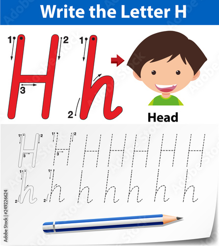 Letter H tracing alphabet worksheets