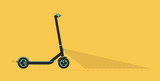 Cartoon picture with Electric Scooter, Kick Scooter, Eco alternative city transport. Flat style vector illustration. Yelow Background. - 249228087
