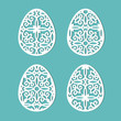 Decorated eggs for Easter holidays. A set of templates for cutting paper, laser cutting and plotter. Vector.