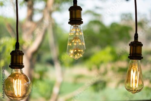 Retro Lampen Led : Classic retro incandescent led electric lamp on blur background