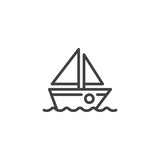 Sailboat line icon. linear style sign for mobile concept and web design. Boat on water waves outline vector icon. Sailing ship symbol, logo illustration. Pixel perfect vector graphics - 249239622