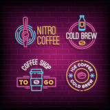 Cold brew coffee and nitro coffee neon logos. Vector glowing badges on brick wall background