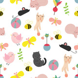 Cute cat seamless pattern background, t-shirt, card. Vector