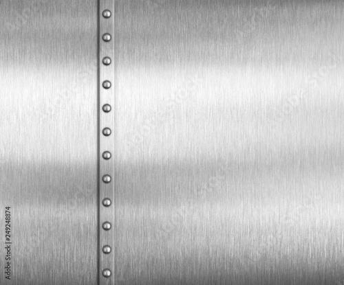 Leinwanddruck Bild Metal brushed steel or aluminum background with rivets