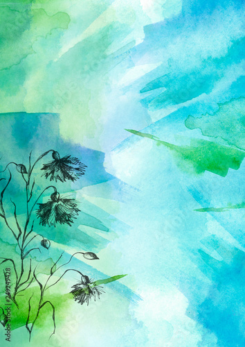 Leinwanddruck Bild Watercolor bouquet of blue, green flowers, Beautiful abstract splash of paint, fashion illustration. knapweed flowers, wildflowers, field or garden flowers. Vintage card. Grunge art background.