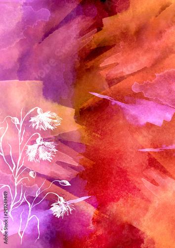 Leinwanddruck Bild Watercolor bouquet of pink, purple flowers, Beautiful abstract splash of paint, fashion illustration. knapweed flowers, wildflowers, field or garden flowers. Vintage card. Grunge art background.