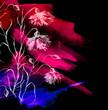 Leinwanddruck Bild - Watercolor bouquet of pink, purple flowers, Beautiful abstract splash of paint, fashion illustration. knapweed flowers, wildflowers, field or garden flowers. Vintage card. Grunge art background.
