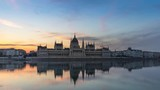 Budapest: Parliament Building by Morning - golden hour time lapse (wide open shot) - 249252804
