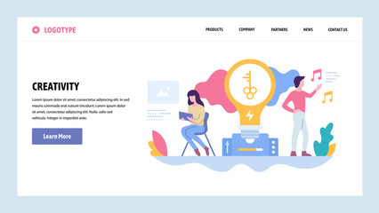 Vector web site gradient design template. Creative process and new ideas. Creativity concept. Landing page concepts for website and mobile development. Modern flat illustration. © skypicsstudio